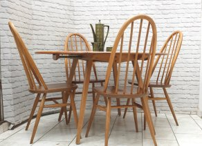 ercol-blonde-elm-mid-century-drop-leaf-dining-table-and-4-windsor-quaker-stick-back-chairs