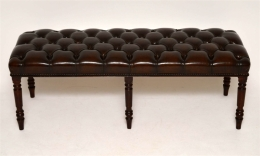 Antique Deep Buttoned Leather Upholstered Stool