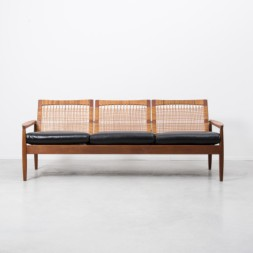 Hans Olsen Rattan Backed Sofa