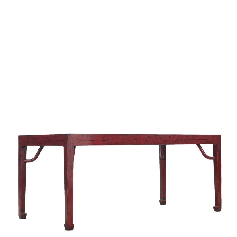 Red Dining Table in Lacquered Elm Wood