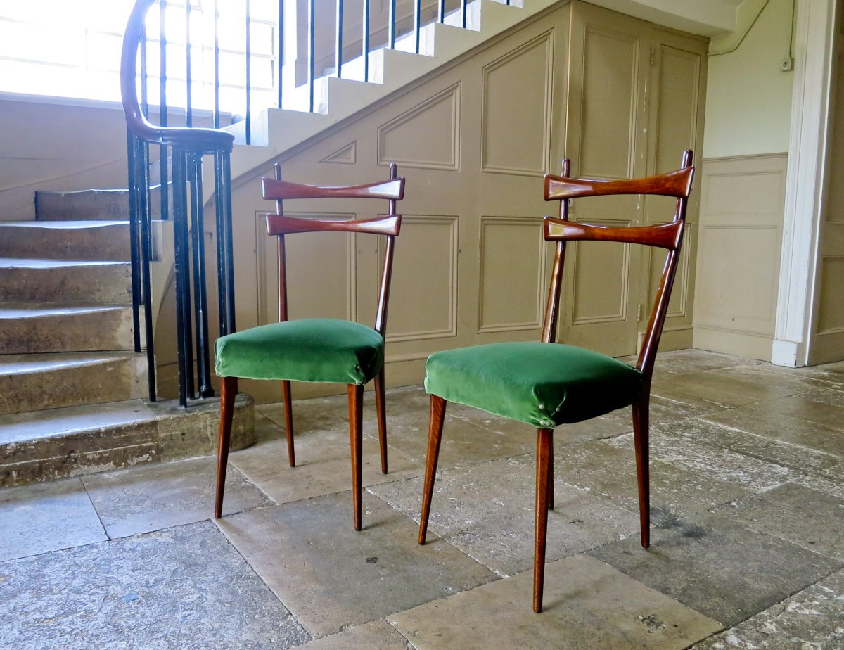 mid-century-dining-chairs-green-velvet-1950s