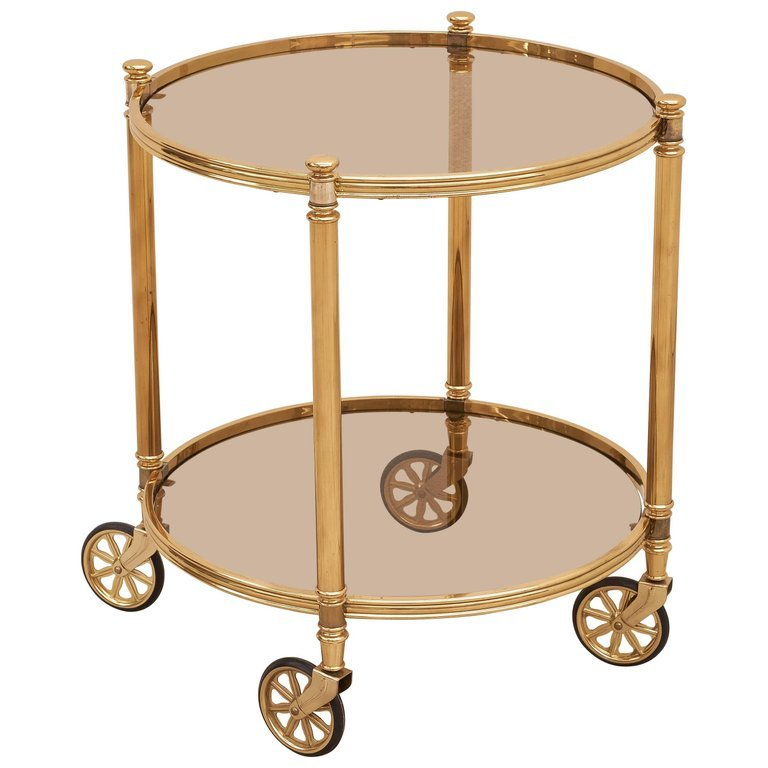 two-tier-circular-brass-bar-cart-with-smoked-glasses-italy-1970s