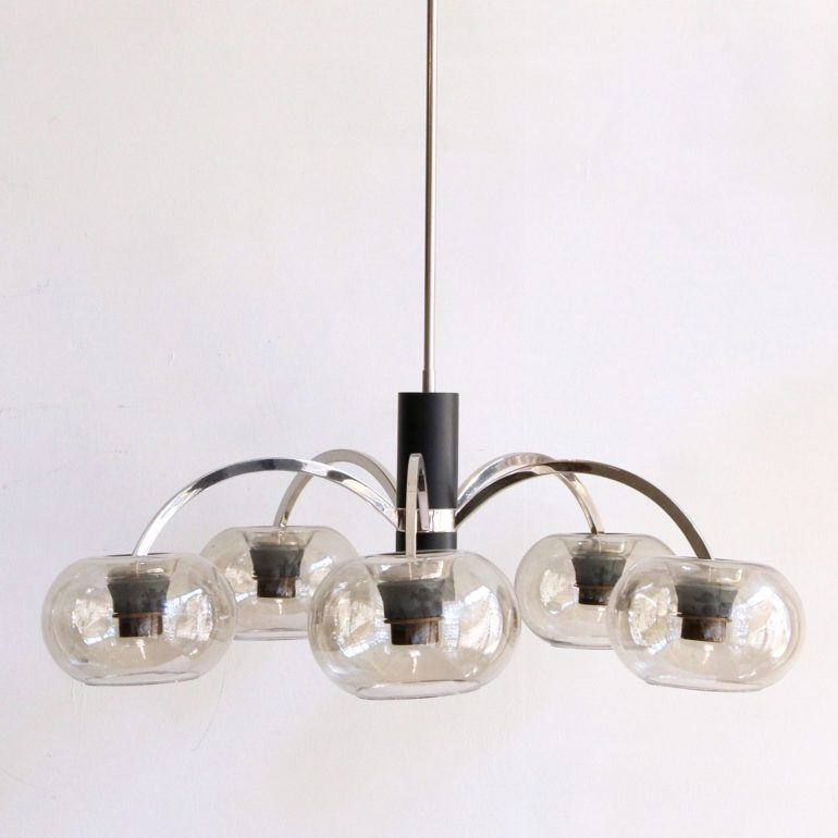 mid-century-chromed-pendant-with-grey-glass-shades